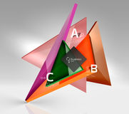 Colorful glossy glass triangle on empty 3d space. Vector template background for workflow layout, diagram, number options or web design Royalty Free Stock Images
