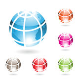 Colorful Glossy Globe Icons Royalty Free Stock Images
