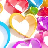 Colorful glossy heart composition as abstract background Stock Photos