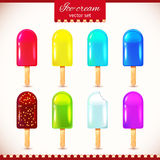 Colorful glossy ice-cream set Stock Photos