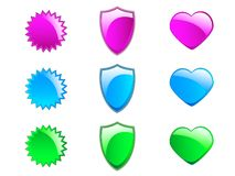 Colorful Glossy Icons. An illustrated set of of colorful glossy icons, isolated on white background Royalty Free Stock Images