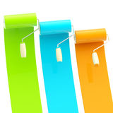 Colorful glossy paint rollers with color strokes stock illustration