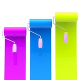 Colorful glossy paint rollers with color strokes Royalty Free Stock Image