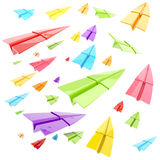 Colorful glossy paper airplanes isolated Stock Photography