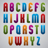 Colorful glossy rounded font, geometric narrow letters with whit Stock Photo