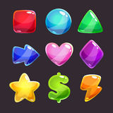 Colorful glossy shapes icons set Stock Photos