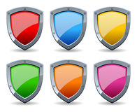 Colorful Glossy Shield Set. Collection of six colorful glossy shields, isolated on white background. Eps file available royalty free illustration