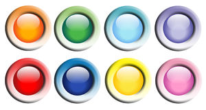 Colorful Glossy Web Buttons. Eight multi colored web buttons.  Transparent PNG file is available Stock Images