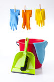 Colorful gloves and cleaning detergents Stock Photography