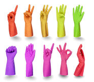 Colorful gloves signs  on white Stock Image