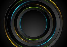 Colorful glow neon circles abstract background. Vector design Vector Illustration