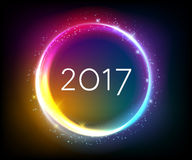 Colorful glow 2017 new year vector illustration. Colorful glow 2017 new year blur background vector illustration. Calendar greeting card design typography Stock Image