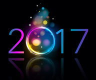 Colorful glow 2017 new year vector illustration. Royalty Free Stock Photos