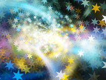 Colorful glowing bokeh stars abstract fractal background. Colorful glowing bokeh stars, computer generated abstract background, 3D rendering Royalty Free Stock Images