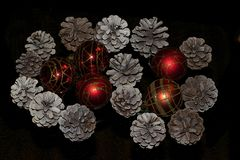 Colorful glowing christmas decorations on the tree Stock Photography