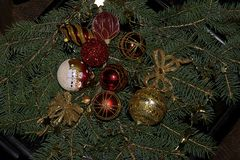Colorful glowing christmas decorations on the tree Royalty Free Stock Photography