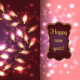 Colorful Glowing Christmas Lights. Colorful Red Glowing Christmas Lights.Vector elements can be used as backdrop for new Year decoration. Holiday Illustration Stock Photo