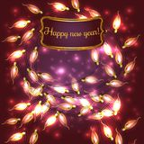 Colorful Glowing Christmas Lights. Colorful Red Glowing Christmas Lights.Vector elements can be used as backdrop for new Year decoration. Holiday Illustration Royalty Free Stock Photos