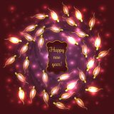 Colorful Glowing Christmas Lights. Colorful Red Glowing Christmas Lights.Vector elements can be used as backdrop for new Year decoration. Holiday Illustration Royalty Free Stock Photography