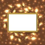 Colorful Glowing Christmas Lights with frame and place for text. Vector elements can be used as backdrop or new Year card, invitation. Holiday Illustration Royalty Free Stock Images