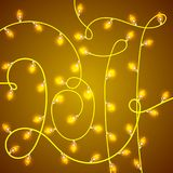 Colorful Glowing Christmas Lights in shape 2017. Vector backdrop for new Year. Holiday Illustration, luminous electric garland. Shiny light bulbs and wire Royalty Free Stock Images