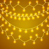 Colorful Glowing Christmas Lights.Vector backdrop for new Year. Holiday Illustration, luminous electric garland. Shiny light bulbs and wire decoration Stock Photography