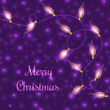 Colorful Glowing Christmas Lights on violet background.Vector elements can be used as backdrop for new Year decoration Royalty Free Stock Photo