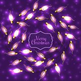 Colorful Glowing Christmas Lights on violet Stock Photo