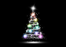 Colorful Glowing Christmas Tree. On Black Background Stock Photography