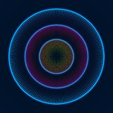 Colorful glowing concentric circles of dots. Abstract vector background.  royalty free illustration