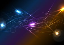 Colorful glowing laser beams lines abstract background. Vector design stock illustration