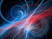 Colorful glowing light lines and curves in space. Computer generated abstract background, 3D render Royalty Free Stock Photos