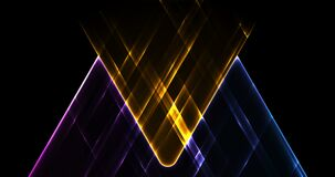 Colorful glowing neon triangles abstract tech motion background