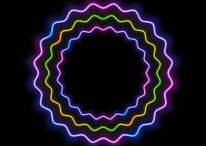 Colorful glowing neon wavy circles abstract background. Vector design Vector Illustration