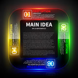4 colorful glowing options around the main idea. Royalty Free Stock Photography
