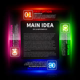 4 colorful glowing options, arranged in a square around the main idea. Royalty Free Stock Photography