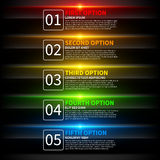 5 colorful glowing options. Useful for presentations or web design. Useful for presentations or web design. Royalty Free Stock Photos