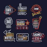 Colorful glowing signboards set, retro neon street signs vector Illustrations vector illustration