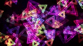 Colorful glowing triangles with neon effect animation background stock video