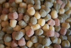 Colorful gnocchi pasta. Ready to be cooked royalty free stock photo