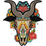 Colorful Goat Skull stock image