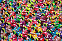 Colorful Goddesses. A background of colorful goddess idols for sale on a festive ocassion in India Royalty Free Stock Image
