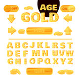Colorful gold font for the creation and design of interface of mobile games and applications. Vector Royalty Free Stock Photos