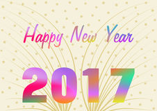 Colorful 2017 on gold with Happy New Year Royalty Free Stock Photo