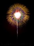 Colorful  golden amazing fireworks in dark sky background, Malta fireworks festival, 4 of July, Independence day, explode, gold ex Stock Image