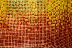 Colorful golden ceramic mosaic stock photos
