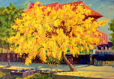 Colorful of golden tree flower and emotion in yellow color. Painting oil color landscape original colorful of golden tree flower and emotion in yellow color with stock illustration
