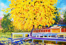 Colorful of golden tree flower and emotion in yellow color. Painting oil color landscape original colorful of golden tree flower and emotion in yellow color with Stock Photos