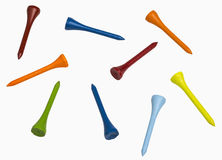 Colorful Golf Tees. Isolated on white, includes clipping paths Stock Photography