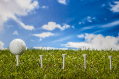 Colorful golf theme with green grass Stock Photo